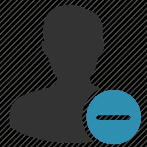 account, delete, human, male, man, minus, people, person, profile, remove, user icon