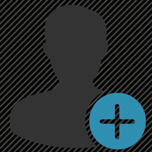 account, add, male, man, plus icon
