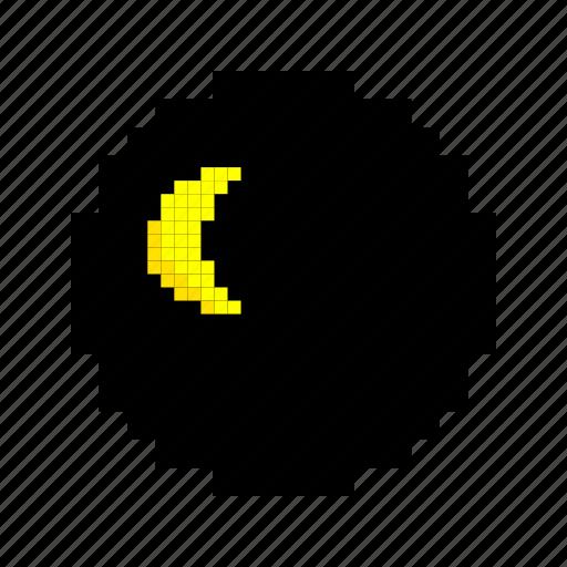 clock, dark, moon, night, semilunar, sleep, time icon
