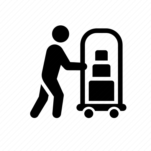 bellhop, hotel porter, human, luggage, male, man, men, people, rack, stick figure icon