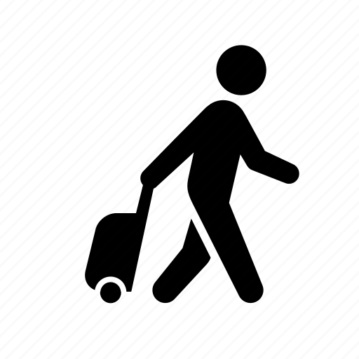 business travel, luggage, man, stick figure, taveler, tourist, turism, vacation icon