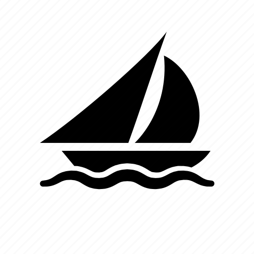 boat, sailing, sails, water, waves, yacht icon