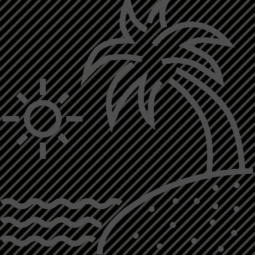beach, palm tree, sand, see, sun, vacation icon