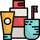amenity, bath, gel, lotion, shower, toothbrush icon