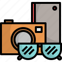 accessories, camera, pocket, sunglasses, travel icon