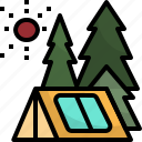 adventure, camping, forest, tent, travel icon