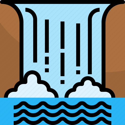 adventure, landscape, nature, travel, water, waterfall icon