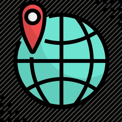 business, global, international, online, pin, travel, world icon