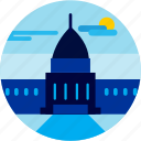 building, cloud, spots, sun, vacation, washington icon