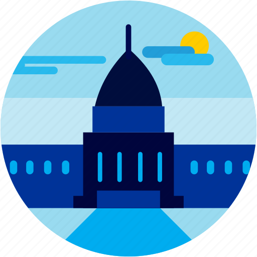 building, cloud, spots, sun, vacation, washington icon