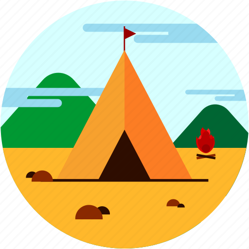 camping, fire, flame, spots, tent, vacation icon
