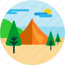 camping, cloud, spots, sun, tent, tree, vacation icon