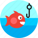 fish, fishing, hook, lake, spots, vacation icon