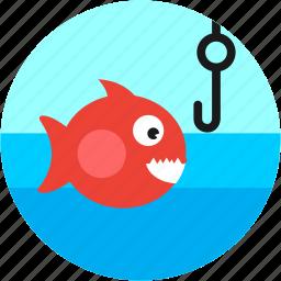 fish, fishing, hook, lake, spots, vacation icon
