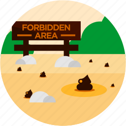 area, forbidden, poop, sign, spots, vacation icon