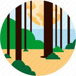 bush, forest, leaves, spots, sun, vacation icon