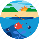 fish, kayaking, lake, mountain, spots, sun, vacation icon