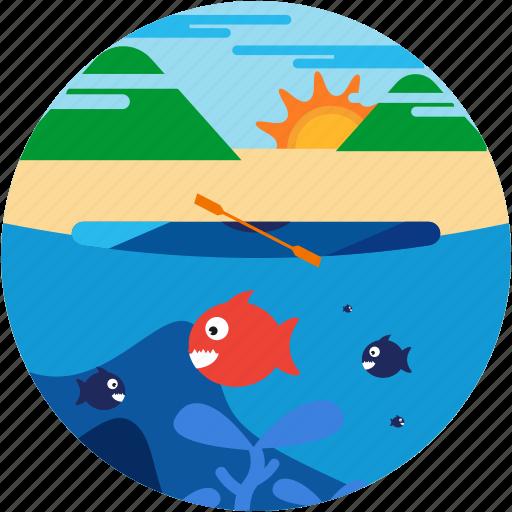 fish, kayaking, lake, mountain, spots, sun, vacation icon