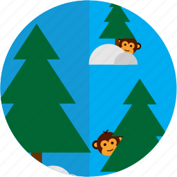 forest, money, snow, spots, trees, vacation icon