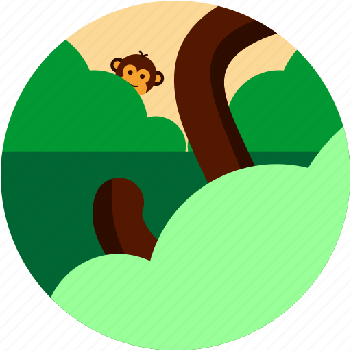 bush, monkey, spots, tail, tree, vacation icon