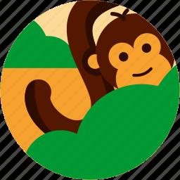 bush, monkey, spots, tail, tree, vacation icon