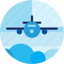 clouds, plane, ride, spots, transportation, vacation icon