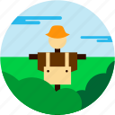 bush, cloud, crow, hat, scare, spots, vacation icon