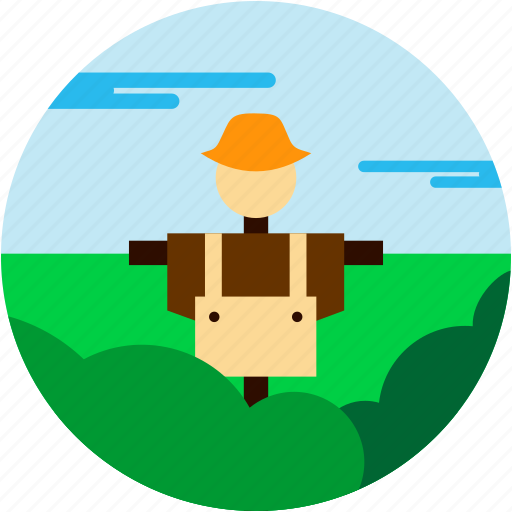 bush, cloud, crow, hat, scare, spots, vacation icon