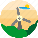 bush, cloud, spots, sun, tree, vacation, windmill icon