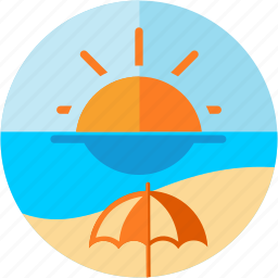 beach, parasol, sea, spots, sun, vacation icon
