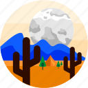 camping, desert, moon, spots, tent, trees, vacation icon