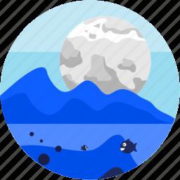 desert, fish, lake, moon, mountain, spots, vacation icon