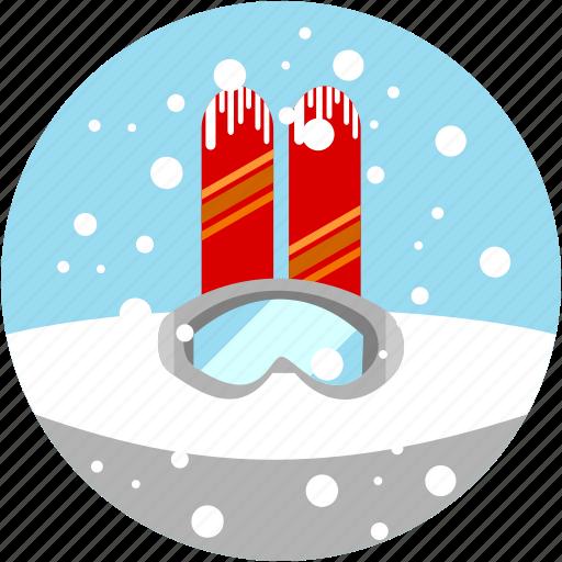 googles, ski, skiing, snow, spots, vacation icon