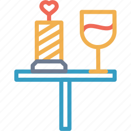 date, day, dinner, love, romantic, valentine, wine icon