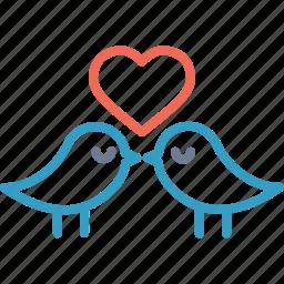 birds, day, heart, love, romantic, valentine icon