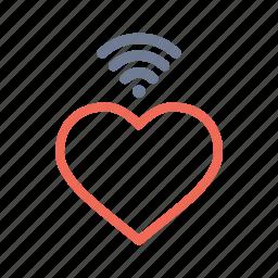 heart, love, romantic, signal, valentine, wifi, wireless icon