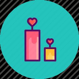candle, day, dinner, love, romantic, valentine, valentines icon