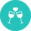 alchohol, date, dinner, love, romantic, valentine, wine icon
