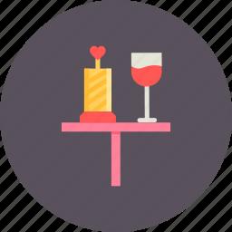 date, day, dinner, love, romantic, valentine, wine icon