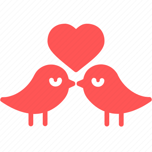 birds, day, heart, love, romantic, valentine icon