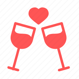 alchohol, date, dinner, love, romantic, valentine, wine icon