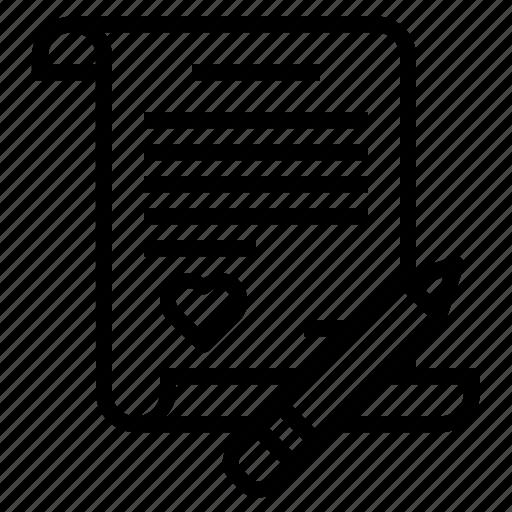 communication, letter, love, message, note, valentine, write icon