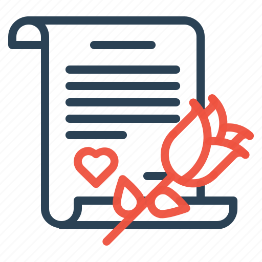 gift, letter, love, propose, rose, valentine icon