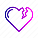 break, heart, love, moveon, reject, relation, valentine icon