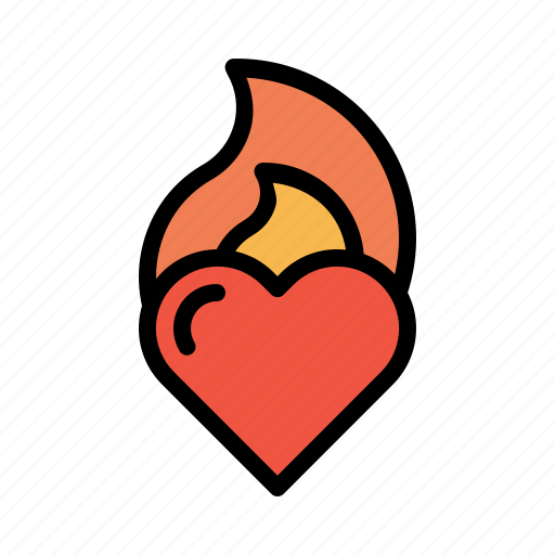 burning, fire, flame, heart, love, valentine icon