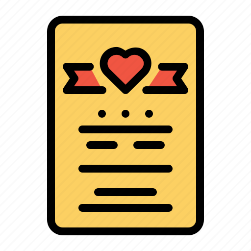 card, gift, greeting, letter, love, note, valentine icon