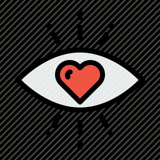 eye, feeling, first, heart, love, sight, valentine icon