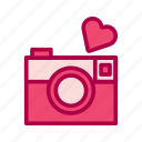 camera, heart, love, photo, valentine icon