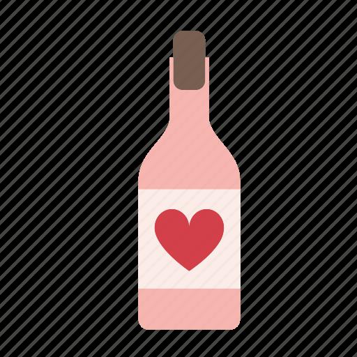 alcohol, beverage, bottle, drink, glass, valentine, wine icon