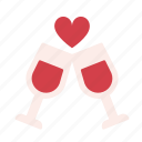 alcohol, drink, heart, love, romance, valentine, wine icon